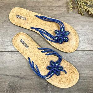 KENNETH COLE REACTION • Blue Flower Sandals Sz 10M